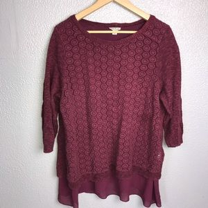 Lucky Brand Mixed Media Pullover Crochet Sweater